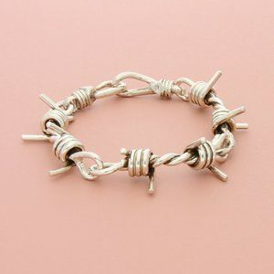 sterling silver mens chunky barb wire bracelet